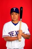 Kensuke Tanaka poses during Texas Rangers photo day on February 25 2014 in Surprise Arizona