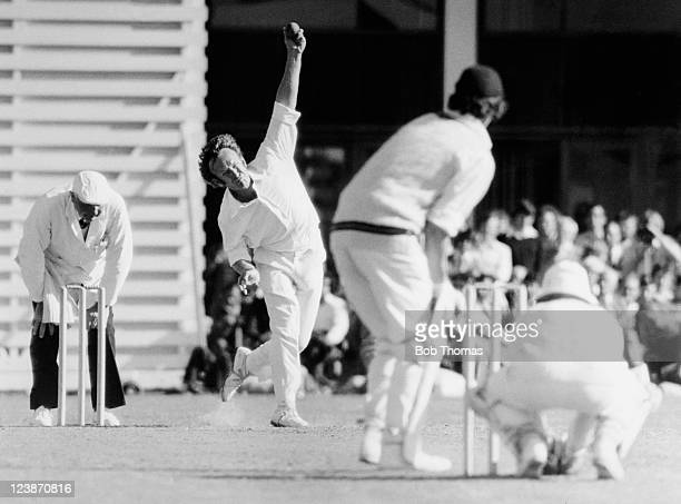 Kent and England bowler Derek Underwood in action against Northamptonshire batsman Geoff Cook during the Benson Hedges Cup Semifinal at the County...