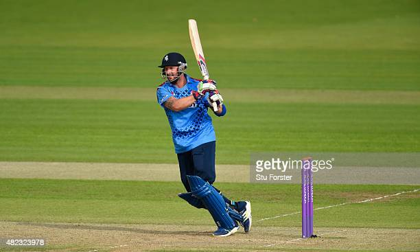Kent batsman Darren Stevens hits out during the Royal London OneDay Cup match between Glamorgan and Kent Spitfires at SWALEC Stadium on July 28 2015...