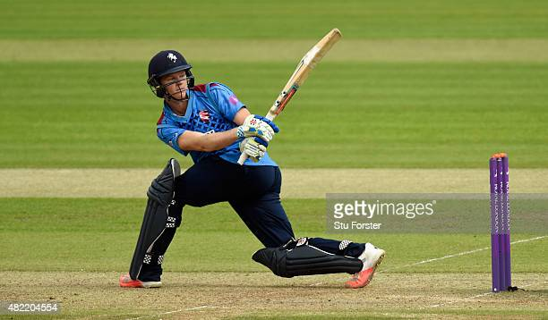 Kent batsman Sam Billings hits out during the Royal London OneDay Cup match between Glamorgan and Kent Spitfires at SWALEC Stadium on July 28 2015 in...