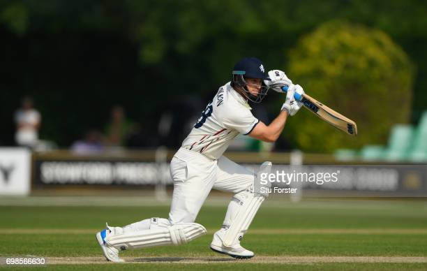 Kent batsman Sean Dickson cover drives to the boundary during the Specsavers County Championship Division Two between Worcestershire and Kent at New...