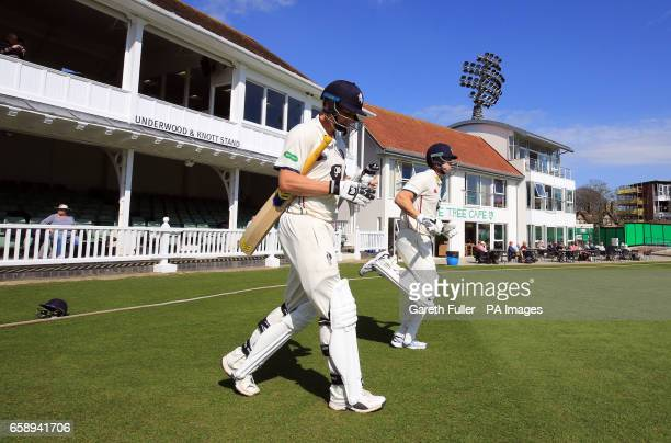 Kent batsman Will Gidman and Joe Denly leave the dressing room for the afternoon session during day one of the FirstClass match at The Spitfire...