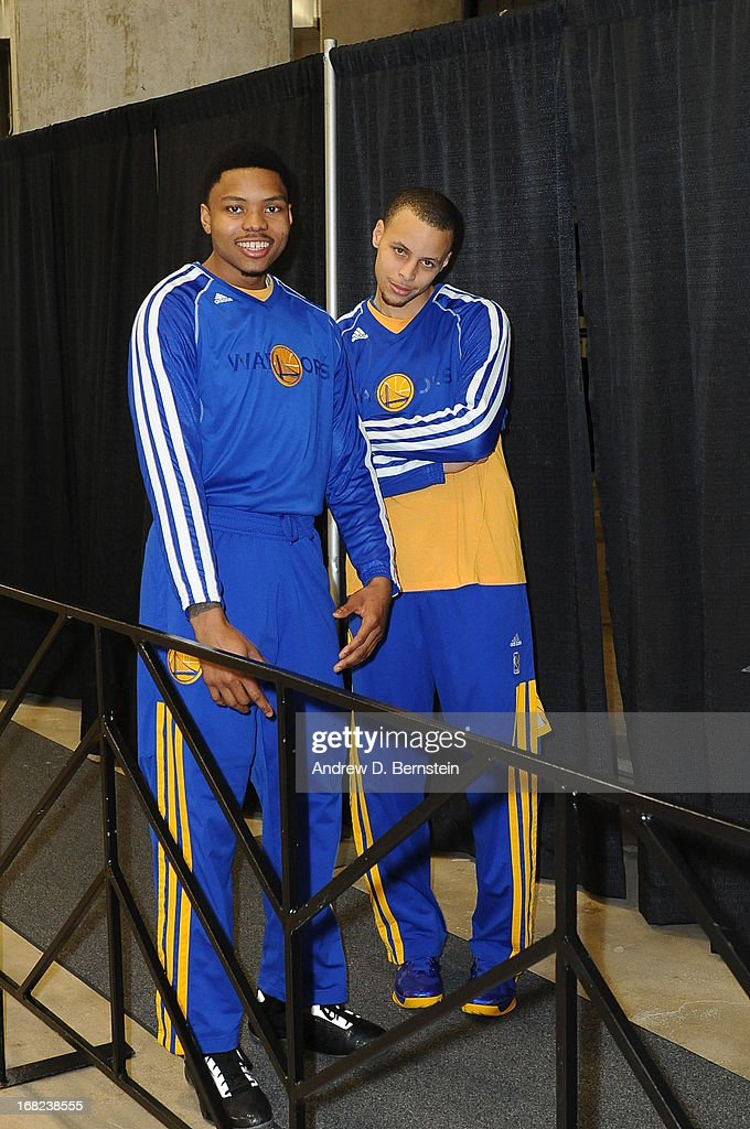 Kent Bazemore #20 and Stephen Curry #30 of the Golden State Warriors before the game against the San Antonio Spurs in Game One of the Western Conference Semifinals during the 2013 NBA Playoffs on May 6, 2013 at the AT&T Center in San Antonio, Texas.