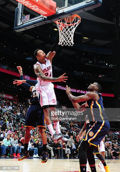 Kent Bazemore of the Atlanta Hawks attempts to dunk against the Indiana Pacers on January 21 2015 at Philips Arena in Atlanta Georgia NOTE TO USER...