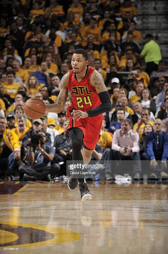 Kent Bazemore #24 of the Atlanta Hawks handles the ball against the Cleveland Cavaliers in Game One of the Eastern Conference Semifinals of the 2016 NBA Playoffs on May 2, 2016 at The Quicken Loans Arena in Cleveland, Ohio.