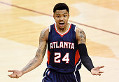 Kent Bazemore of the Atlanta Hawks reacts after being called for a foul in the second quarter during Game Three of the Eastern Conference Finals of...