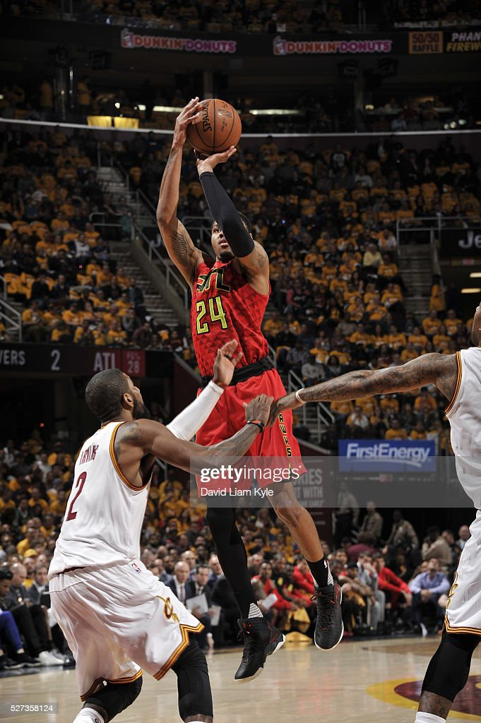 Kent Bazemore #24 of the Atlanta Hawks shoots the ball against the Cleveland Cavaliers in Game One of the Eastern Conference Semifinals of the 2016 NBA Playoffs on May 2, 2016 at The Quicken Loans Arena in Cleveland, Ohio.