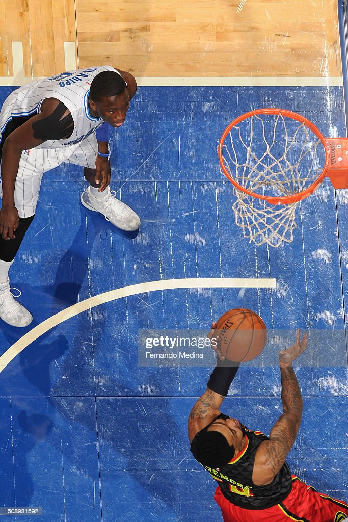 <a gi-track='captionPersonalityLinkClicked' href=/galleries/search?phrase=Kent+Bazemore&family=editorial&specificpeople=6846101 ng-click='$event.stopPropagation()'>Kent Bazemore</a> #24 of the Atlanta Hawks shoots the ball against the Orlando Magic on February 7, 2016 at the Amway Center in Orlando, Florida.