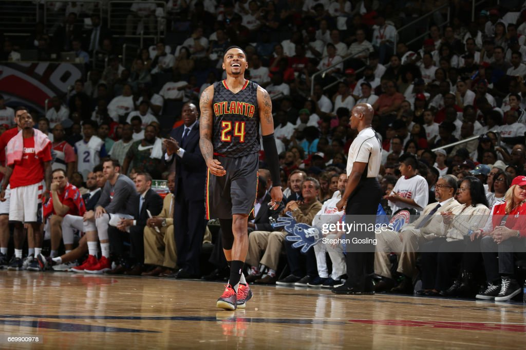 Kent Bazemore #24 of the Atlanta Hawks smiles and walks up court during the Eastern Conference Quarterfinals against the Washington Wizards during the 2017 NBA Playoffs on April 16, 2017 at Verizon Center in Washington, DC.