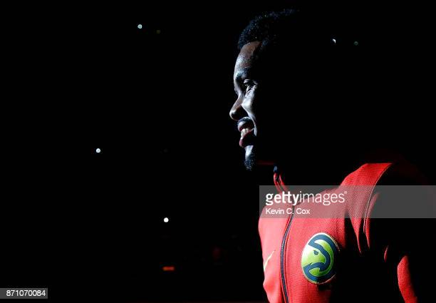 Kent Bazemore of the Atlanta Hawks walks on the court during player introductions prior to facing the Boston Celtics at Philips Arena on November 6...