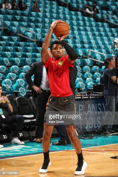 Kent Bazemore of the Atlanta Hawks warms up before the game against the Charlotte Hornets on October 20 2017 at Spectrum Center in Charlotte North...