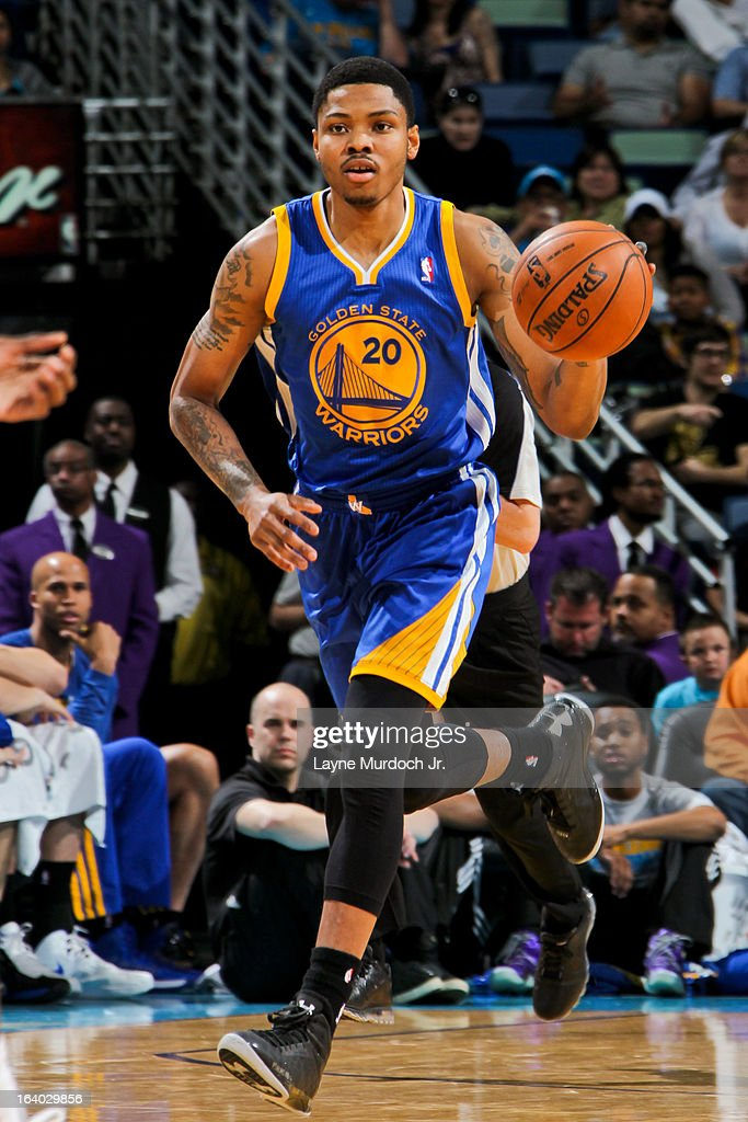 Kent Bazemore #20 of the Golden State Warriors advances the ball against the New Orleans Hornets on March 18, 2013 at the New Orleans Arena in New Orleans, Louisiana.