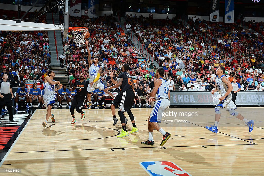 Kent Bazemore #20 of the Golden State Warriors goes up for the fingerroll against the Phoenix Suns during NBA Summer League Championship Game on July 22, 2013 at the Cox Pavilion in Las Vegas, Nevada.