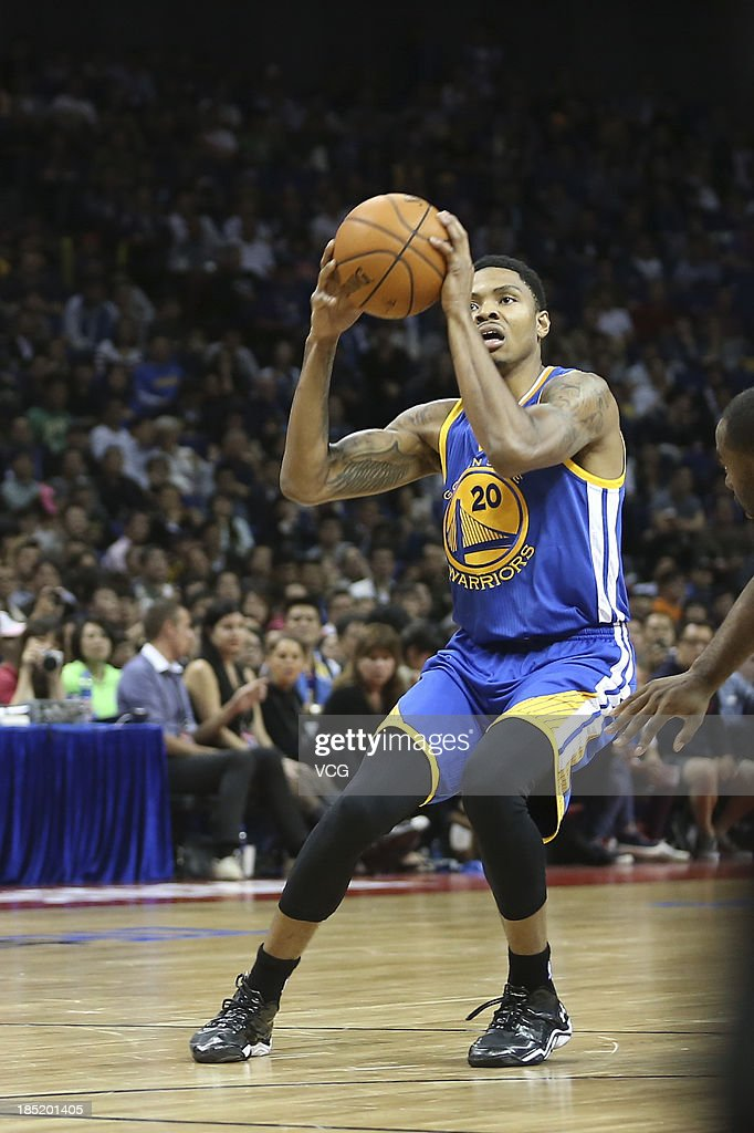 <a gi-track='captionPersonalityLinkClicked' href=/galleries/search?phrase=Kent+Bazemore&family=editorial&specificpeople=6846101 ng-click='$event.stopPropagation()'>Kent Bazemore</a> #20 of the Golden State Warriors shoots the ball against the Los Angeles Lakers during the 2013 Global Games at the Mercedes-Benz Arena on October 18, 2013 in Shanghai, China.