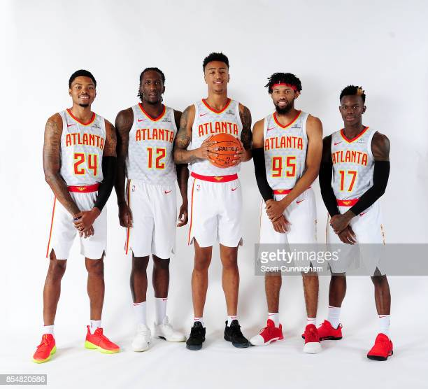 Kent Bazemore Taurean Prince John Collins DeAndre' Bembry and Dennis Schroder of the Atlanta Hawks pose for a portrait during the 201718 NBA Media...