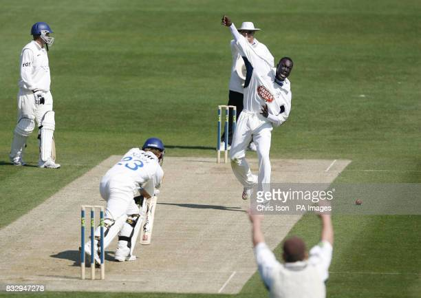Kent bowler Robert Joseph traps Chris Nash of Sussex lbw with his first ball during the Liverpool Victoria County Championship Division One match at...