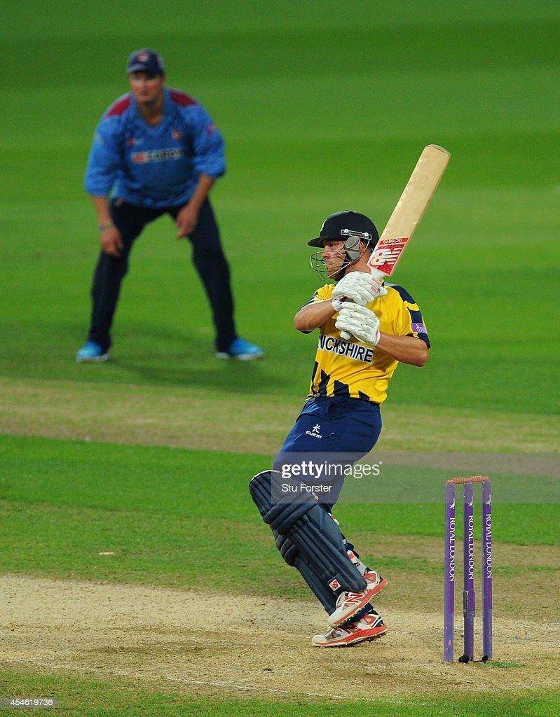 Kent captain Robert Key looks on as Warwickshire batsman Jonathan Trott picks up some runs during his half century during the Royal London OneDay Cup...