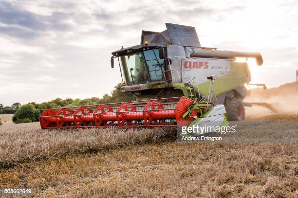 UK Kent combine harvester at work at sunset in field of wheat using latest computerised technology and GPRS to establish and improve yield per acre