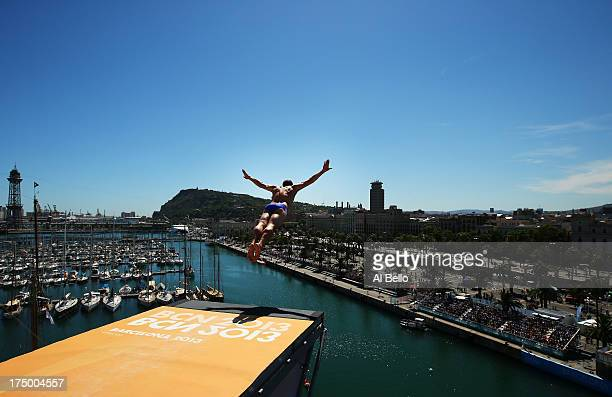 Kent De Mond of the USA competes during the Men's 27m High Diving on day ten of the 15th FINA World Championships at Moll de la Fusta on July 29 2013...
