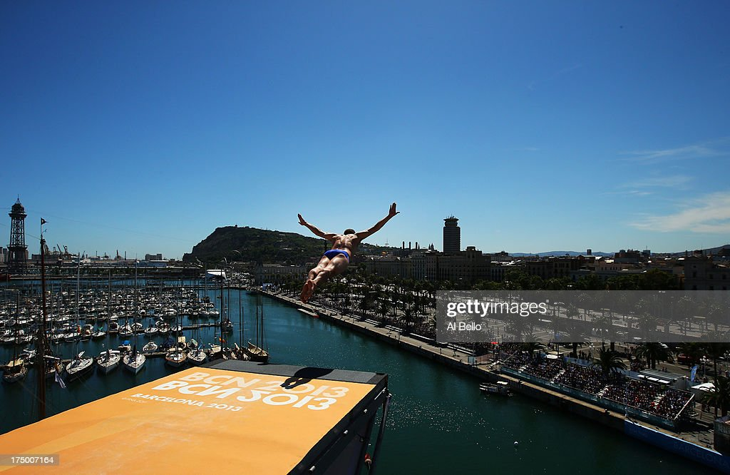 Kent De Mond of the USA competes during the Men's 27m High Diving on day ten of the 15th FINA World Championships at Moll de la Fusta on July 29, 2013 in Barcelona, Spain.