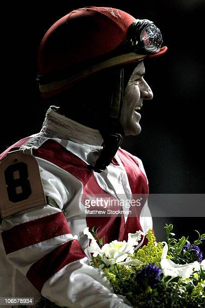 Kent Desormeaux celebrates aboard Unrivaled Belle after winning the Ladies Classic during the Breeders' Cup World Championships at Churchill Downs on...