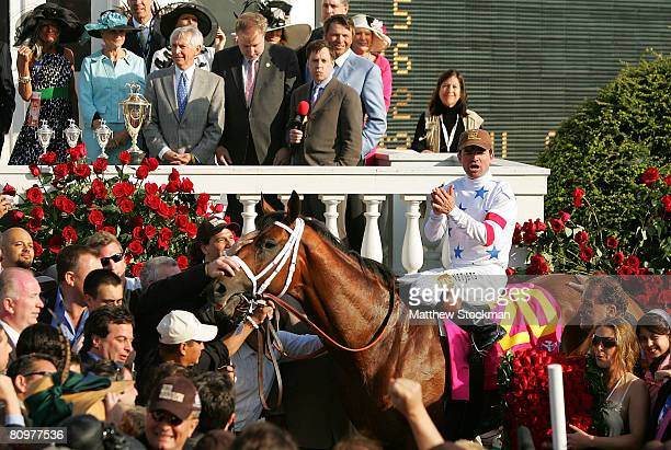 Kent Desormeaux riding Big Brown celebrates in the winner's circle after winning the 134th running of the Kentucky Derby on May 3 2008 at Churchill...