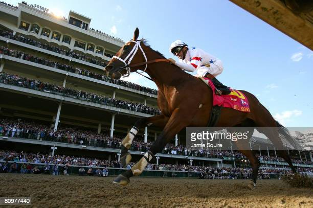 Kent Desormeaux riding Big Brown crosses the finish to win the 134th running of the Kentucky Derby on May 3 2008 at Churchill Downs in Louisville...