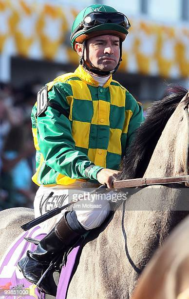Kent Desormeaux upon Paddy O'Prado looks on prior to the start of the 135th running of the Preakness Stakes at Pimlico Race Course on May 15 2010 in...