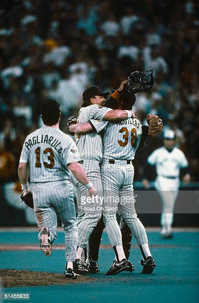 Kent Hrbek Rick Aguilera and Mike Pagliarulo of the Minnesota Twins celebrate after defeating the Toronto Blue Jays in Game Five of the 1991 American...
