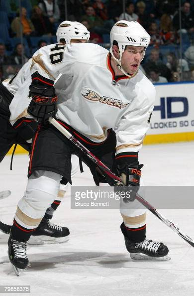 Kent Huskins of the Anaheim Ducks lines up in position prior to a faceoff during NHL game action against the New York Islanders on February 5 2008 at...