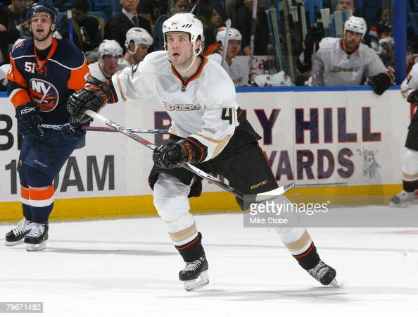 Kent Huskins of the Anaheim Ducks skates against the New York Islanders on February 5 2008 at Nassau Coliseum in Uniondale New York