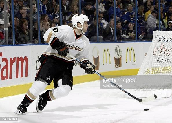 Kent Huskins of the Anaheim Ducks skates against the St Louis Blues on December 28 2008 at Scottrade Center in St Louis Missouri