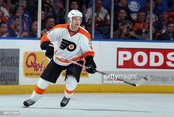 Kent Huskins of the Philadelphia Flyers skates against the New York Islanders at the Nassau Veterans Memorial Coliseum on April 9 2013 in Uniondale...