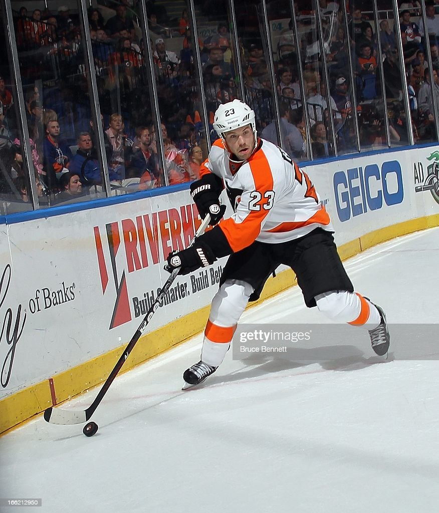 Kent Huskins #23 of the Philadelphia Flyers skates against the New York Islanders at the Nassau Veterans Memorial Coliseum on April 9, 2013 in Uniondale, New York. The Islanders defeated the Flyers 4-1.