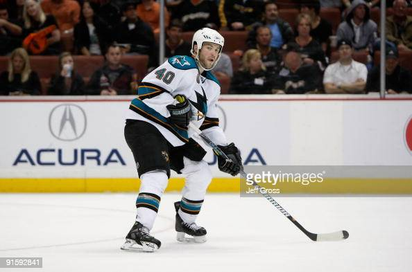 Kent Huskins of the San Jose Sharks skates against the Anaheim Ducks at the Honda Center on October 3 2009 in Anaheim California The Sharks defeated...