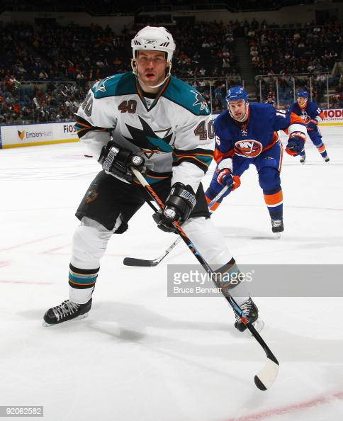 Kent Huskins of the San Jose Sharks skates against the New York Islanders at the Nassau Coliseum on October 17 2009 in Uniondale New York