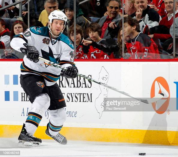 Kent Huskins of the San Jose Sharks skates during an NHL hockey game against the New Jersey Devils on February 11 2011 at the Prudential Center in...