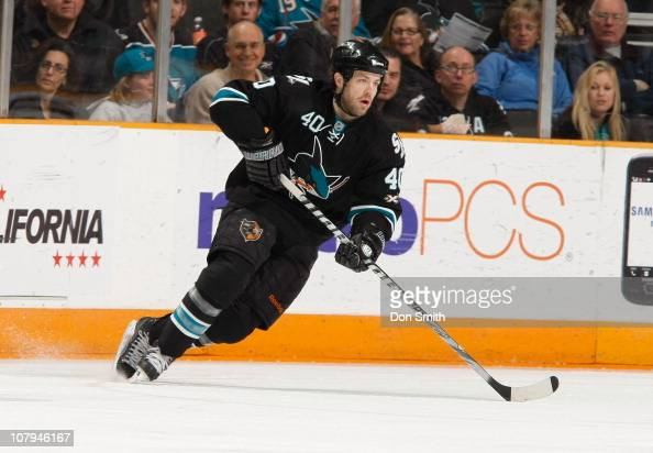 Kent Huskins of the San Jose Sharks skates up the ice against the Buffalo Sabres during an NHL game on January 6 2011 at HP Pavilion at San Jose in...