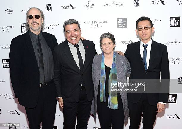 Kent Jones Eugene Hernandez Lesli Klainberg and Dennis Lim attend the 41st Annual Chaplin Award Gala at Avery Fisher Hall at Lincoln Center for the...