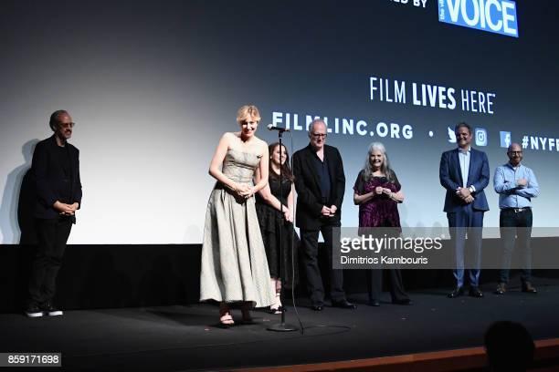 Kent Jones Greta Gerwig Beanie Feldstein Tracy Letts Lois Smith and Sam Levy onstage during 55th New York Film Festival screening of 'Lady Bird' at...