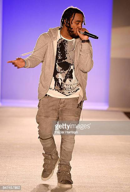 Kent Jones performs at the Official KickOff Party Of SWIMMIAMI hosted by Planet Fashion TV at W South Beach Hotel Residences on July 14 2016 in Miami...