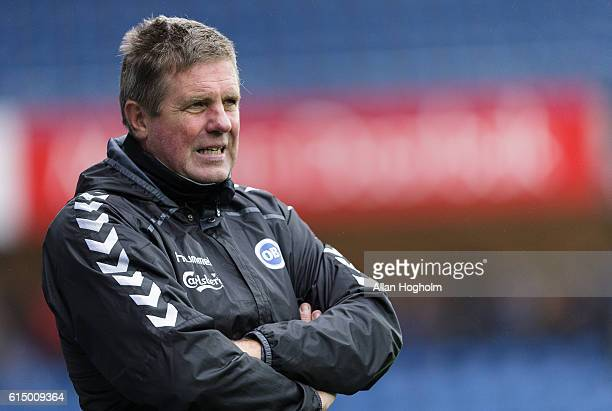 Kent Nielsen head coach of OB looks dejected during the Danish Alka Superliga match between Randers FC and OB Odense at BioNutria Park on October 16...
