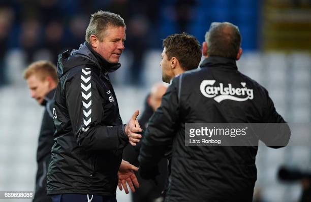 Kent Nielsen head coach of OB Odense after the Danish Alka Superliga match between OB Odense and Randers FC at EWII Park on April 18 2017 in Odense...
