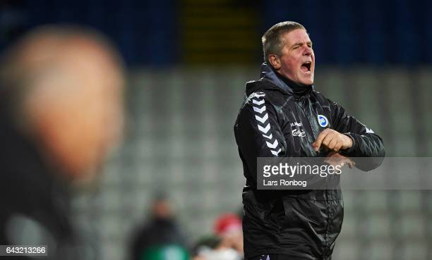 Kent Nielsen head coach of OB Odense in action during the Danish Alka Superliga match between OB Odense and Randers FC at EWII Park on February 20...