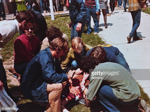 Kent State University students demonstrate to protest the widening of the war in Southeast Asia National Guardsmen open fire on the 1000 students and...