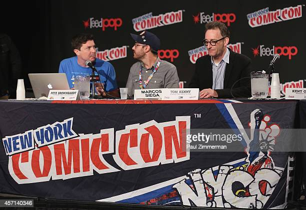 Kent Osborne Marcos Siega and Tom Kenny speak at the Cartoon Network Super Press Hour CN Anything Cartoon Network at New York Comic Con 2014 at Jacob...
