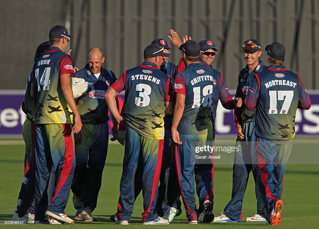 Kent players celebrate after Fabian Cowdrey (3rd R) runs out James Franklin of Middlesex (not shown) during the Natwest T20 Blast match between Kent and Middlesex at The Spitfire Ground on June 24, 2016 in Canterbury, England.