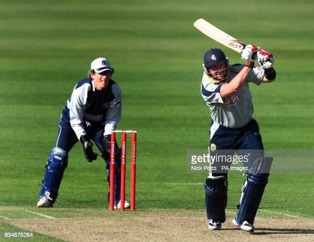 Kent Spitfire's Darren Stevens hits off the bowling of Warwickshire Bears bowler Ian Sailsbury during the Twenty20 Cup Quarter Final match at...