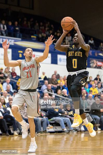 Kent State Golden Flashes G Jalen Avery shoots as Bowling Green Falcons G Antwon Lillard defends during the second half of the men's college...