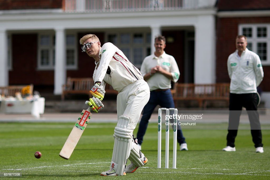 Kent wicket keeper Sam Billings in action during filming of the Specsavers advert The Umpires Strikes Back on August 23, 2017 in London, England.